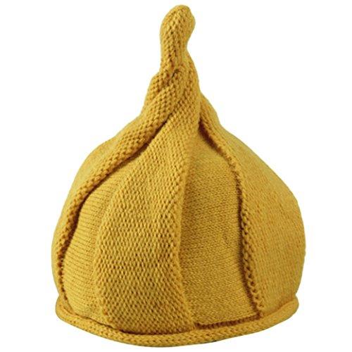 Happy Cherry Bébé Enfant Fille Garçon Mignon Bonnet épais Calotte Velours Chaud Casquette Tressé Crochet Tricoté Style Noël Tour de tête 47-53cm 1-6ans Uni Jaune