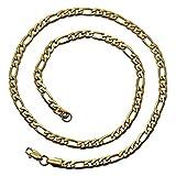 tumundo Figarokette Golden Ø 6mm Edelstahl-Kette Halskette Figaro-Kette Armband Herren Damen Panzerkette Königskette, Länge schmuck:50 cm