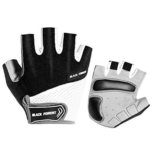 AmDxD Damen Reithandschuhe Anti-Rutsch Fahrradhandschuhe Kurz Finger Schwarz Handschuhe Größe Mittel