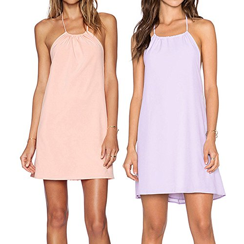 Hrph Sexy Style Backless Halter Neck Lace Dress Loose Braces Dress Violet