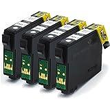 T1281 / E1281 x4 Black Compatible Printer Ink Cartridges fit Epson Stylus Office BX305F, 305FW, Epson Stylus S22, SX125, SX130, SX230, SX235W, SX420W, SX425W, SX430W, SX435W, SX438W, SX440W, SX445W