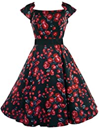 H&R London 50's Noir Rouge Rose Robe