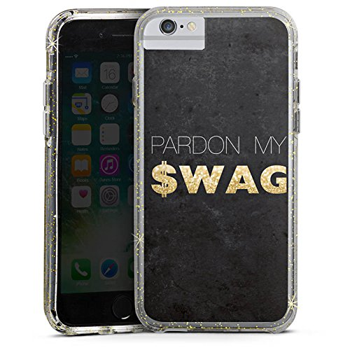 Apple iPhone 7 Plus Bumper Hülle Bumper Case Glitzer Hülle Pardon Swag Glitter Bumper Case Glitzer gold