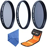 77MM Filter Set,K&F Concept 77mm UV CPL ND4 Lens Filters UV Filter UV Protective Filter CPL Filter 77MM Polarising Filter Neutral Density Filter + Microfiber Lens Cleaning Cloth + Filter Bag Pouch