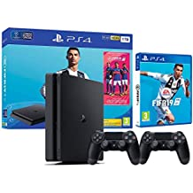 PS4 Slim 1Tb Playstation 4 Nera + FIFA 19 + 2 Controller Dualshock 4