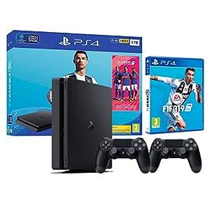 PS4 Slim 1TB schwarz Playstation 4 – FIFA 19 + 2 Dualshock Controller 4