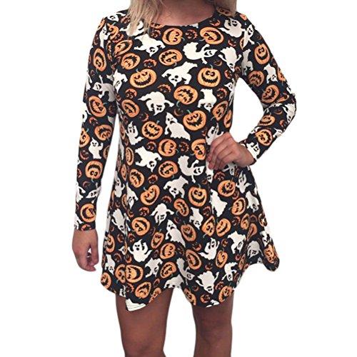 Damen Kleider Halloween Festlich Elegant Langarm Vintage Totenköpfe Kürbis Cute Chic Spinnennetz Schläger Muster Fashion Party Karneval Costume Kurz Shirtkleider Longshirt (Color : Weiß, Size : L)