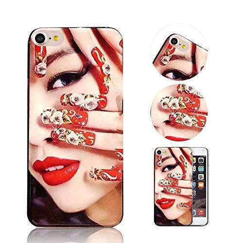 iPhone 8 Hülle QianYang TPU Silikon Diamant Muster Schutzhülle für iPhone 7/8 Handyhülle Nägel Mode Protektiv Tasche Schale - ROT