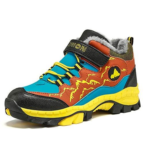 Wanderschuhe Jungen Trekking Schuhe Wanderstiefel Kinder Winterschuhe Warm Gefüttert Stiefel Schnee Outdoor Camping Rutschfeste Blau Grün Orange Gr.30-40 OR35