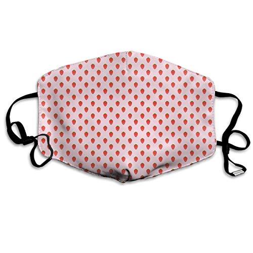 Nicegift Atemschutzmaske, Atemschutzmaske, Erdbeermotiv, mit Ohrschlaufen, Pink