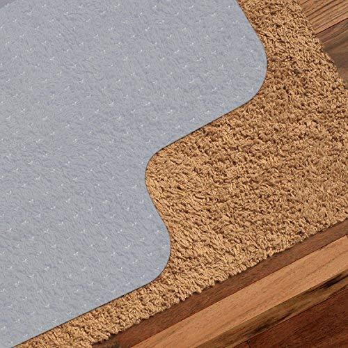PVC Bodenschutzmatte, Bodenschutz Bürostuhlunterlage für Hartböden Teppich und Teppichböden, Rutschfeste Bodenmatte Schutzmatte Stuhlunterlager Unterlegmatte Bürostuhl Fitnessgeräte 90x120 cm, Weiß