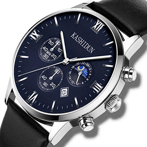 Kashidun Herren(Unisex)-Handgelenk Quarz Uhren CLASSIC Schweizer Uhr Fall Box Leder Gurt für Herren zh-pd