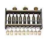 HuaHua-Housewares Porte Bouteilles, 2 Niveaux métal Stockage Mural en Bois millésime Industriel vin Champagne Verre gobelets Support de Support de Verres à Pied