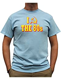 Nutees I Love 80's Fancy Dress Costume Party Funny Mens T Shirt - Light Blue