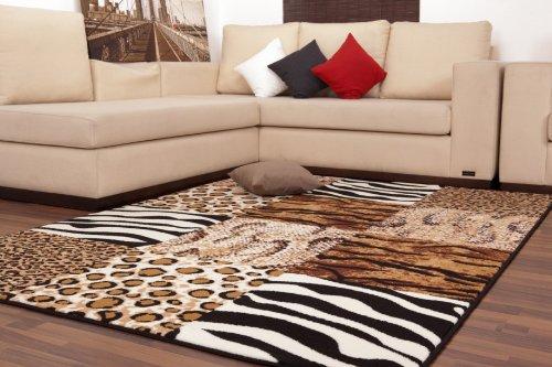 Alfombra Moderna de Pelo Plano de Diseño Patchwork Color Beis Leopardo Cebra Safari Nueva Precinto Original - 80cm x 150cm