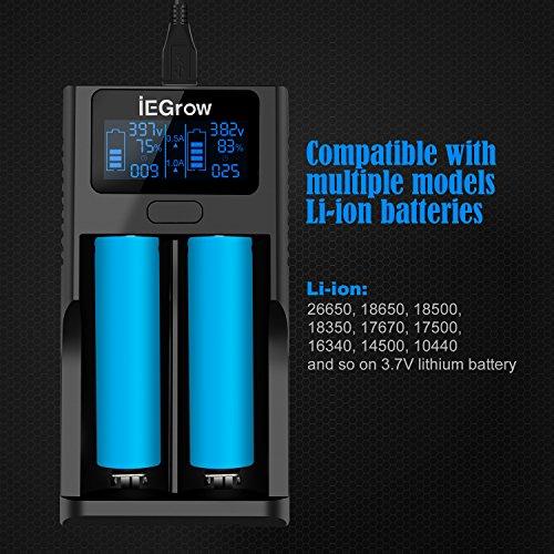 iEGrow LCD Akku Ladegerät Ladestation für 18650, 26650, 18500, 18350, 17670, 17500, 16340, 14500, 10440 3.7V Li-Ionen-Akku Batterien (2 LCD)