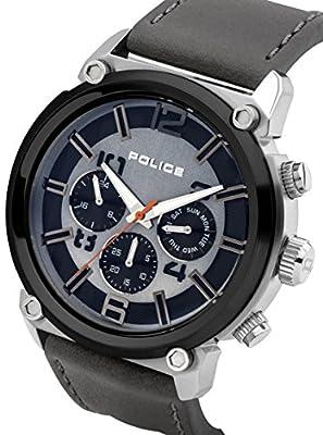 Police Reloj de Hombre Armor de Cuarzo con esfera gris, pantalla anlógica y correa de piel gris 14378JSTB/02A de Police