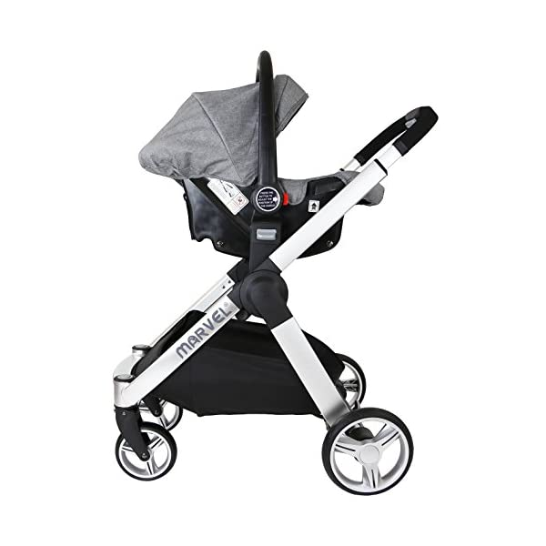 Marvel 2in1 Pram - Dove Grey (+ x2 Footmuff + x1 Car Seat Raincover) iSafe Includes Free Carseat Raincover + Carseat Footmuff + Stroller Footmuff Complete With Free Raincover For Seat Unit Complete With Free Boot Cover 8