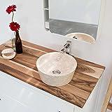 wohnfreuden Marmor Waschbecken 30 cm ✓ groß rund creme ✓ Naturstein Waschplatz Handwaschbecken Steinwaschschale Natursteinwaschbecken für Ihr Bad ✓ inkl. techn. Zeichnung