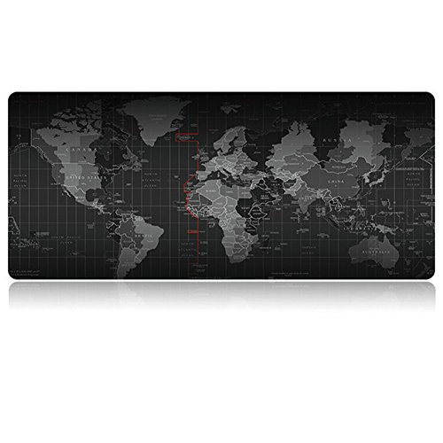 Gaming Mauspad, MonoTech 900x400mm Wasserdicht Mouse pad Weltkarte Mat Anti-Rutsch Gummi Basis für Computer, Maus pad,Schreibtischunterlage (black) (Beendet Glas-rand)
