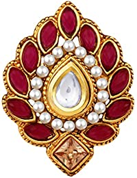 Spargz Antique Gold Plated Kundan AD Stone With Pearls Traditional Adjustable Finger Ring For Women AIFR 126