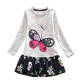 Neat Mädchen Blumen Langarm Baumwolle Kleid 2-8 Jahre LH5460Grau 6T