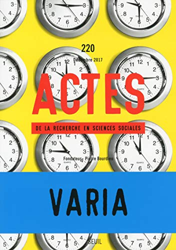 Actes de la recherche en sciences sociales - numéro 220 Varia