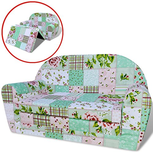 vidaXL Kindersofa mit Bettfunktion Sofa Sessel Schlafsofa Kinderzimmer Blumenmuster
