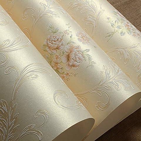 VanMe European-Style Land Blumen-Tapete 3D Non-Woven Tuch Tapete Im Wohnzimmer Schlafzimmer Bett Warm Romantic Wedding Room, Rosa Khaki, 0,53M * 10M