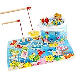 SM SunniMix alla Moda Mini Gioco di Pesca Magnetica in Legno Giocattoli per Tempo Libero Educare Bambino