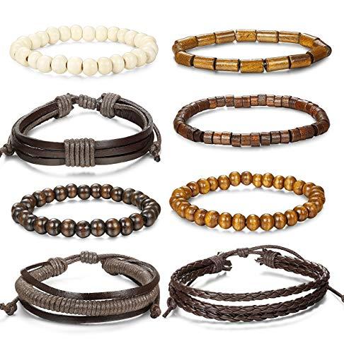 Milacolato 8-14 Pcs Geflochtenes Lederarmband für Männer Frauen Holz Perlen Armbänder Wrap Einstellbar