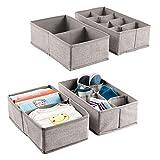 MetroDecor mDesign Set da 4 scatole Grandi in Tessuto - portaoggetti con vani per calzette, e Giocattoli - Box per Cambio Stagione - Colore: Grigio