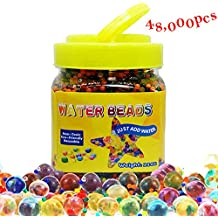 Granos de agua, 48,000 pcs cuentas de gel de agua QMAY Mezcla de colores de cristal para niños Juguete táctil, relleno de spa, decoración de flores de plantación (11 oz)