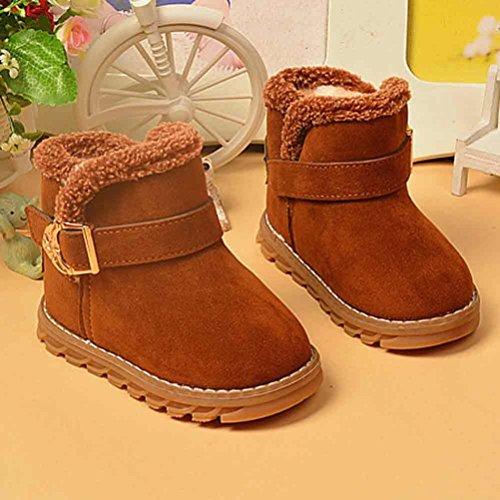 Jamicy® Baby Mädchen Kind Winter Mode Stil Brief Stiefel warme Schnee Schuhe aus Baumwolle Braun