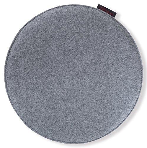 """Stuhl-/Sitzkissen """"Avaro"""" Filzoptik, rund ca. 35x2 cm, kombinationsfrohe Uni-Farben, Sitzkomfort für alle Gelegenheiten (grau)"""