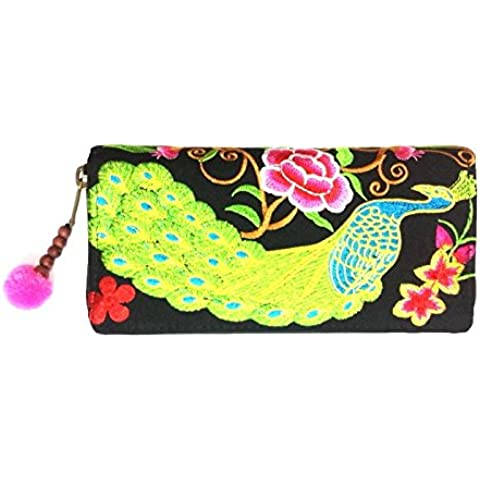 Wallet by JP Embroidery Peacock Flower Zipper Wallet Purse Clutch