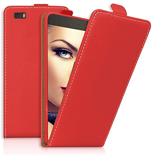 mtb more energy® Flip-Case Tasche für Huawei P8 Lite (ALE-L21. / 2015/5.0'') | Rot | Kunstleder | Schutz-Tasche Cover Hülle