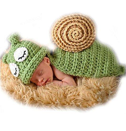 Unbekannt Baby Häkelkostüm Neugeborenen Strick Kostüm Fotoshooting Foto Schnecke Grün