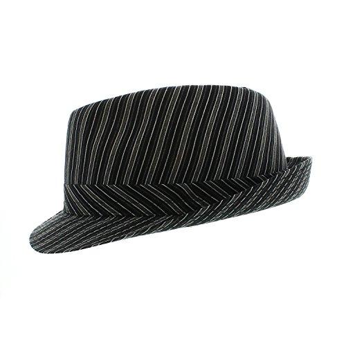 Votrechapeau - Chapeau Trilby - Petit Bord - Tivoli - Noir rayé - Tour de tête 54