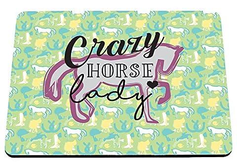 Hippowarehouse Crazy Horse Lady équitation Motif imprimé Tapis de souris accessoire de base en caoutchouc Noir 240mm x 190mm x 60mm, bleu/jaune, taille