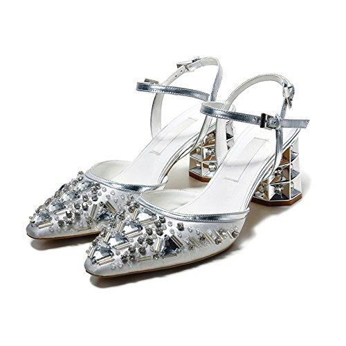 WSS chaussures à talon haut L'Europe et les talons chunky confortables sandales Chaussures sandales à la main haute qualité Silver