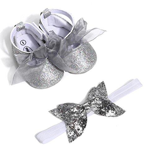 2 Pcs Baby Mädchen Schuh Anti-Rutsch-weiche Sohle Kleinkind Schuhe+ Stirnband (0~6 Month, Silber) ()