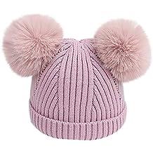 Topgrowth Cappello Bambina Berretti Invernali Ragazza Crochet Cappello A  Maglia Bimbo Caldo Cappello Doppio PON di 825ddbafddaf