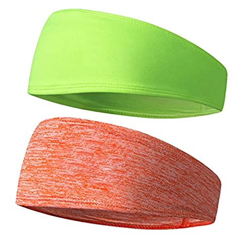 2 Pièces Elastic Sports Headband Wicking Sweatband Mode Yoga Et Exercice,Multi-colored-M