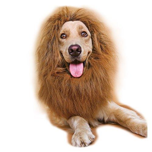 Hunde Bis Kostüm - Anladia Kostüm Hund Löwenmähne für Hunde Hundeschal Hund Halstuch Perücke Verstellbar bis 70cm Dunkelbraun