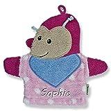 Sterntaler Waschhandschuh mit Namen bestickt Waschlappen Baby Geschenk zur Geburt (Katharina (Käfer) rosa)