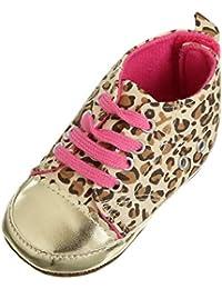V-SOL Zapatos Zapatillas Leopardo Caminar Para Niña Bebé (Bebé Edad 6-12 Mes, Dorado 1par)