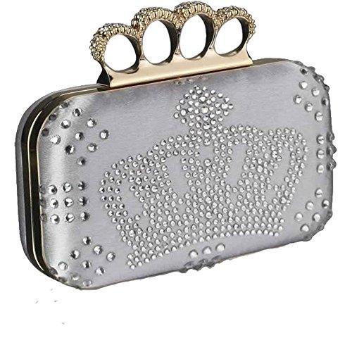 TrendStar Wulstige Clutch Taschen Damen Kasten Diamante Abend Handtaschen Damen Hochzeitsfest Neu Taschen Silber1