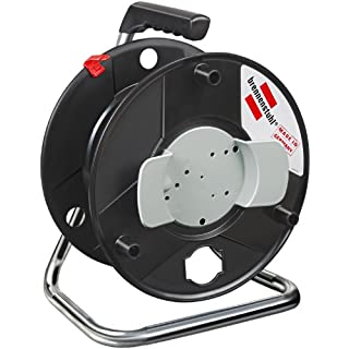 Brennenstuhl Garant hose reel (Ø 290mm, with carry handle, easy winding), empty cable reel for extension cable or garden hose storage, colour: black