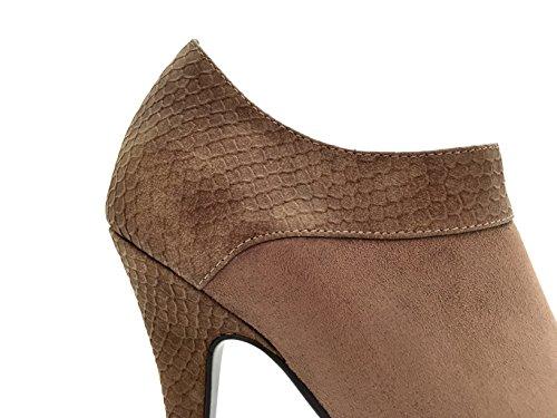 85131041e20afb Chaussure femme bottine à talon aiguille plateforme, aspect daim, ...
